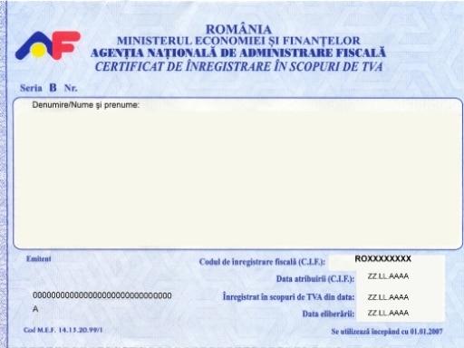 Mobila pentru bucataria inregistrare certificat anaf - Attestation de tva 10 ...